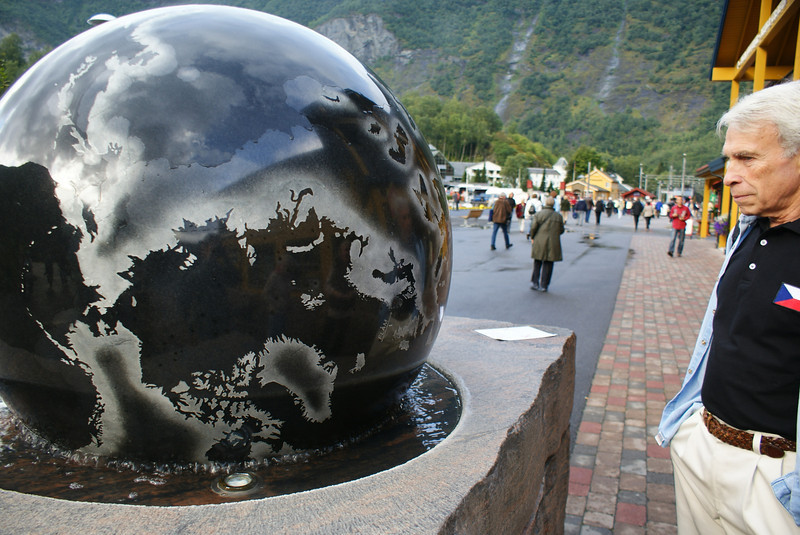 At the harbor is a metal globe that is free spinnng on a bed of water.  There's a big dot right on Flam.  I'm not sure what Phil is thinking here.  Any guesses?.