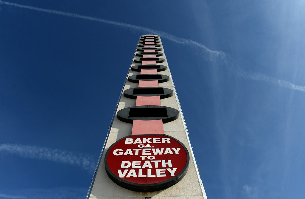 . The World\'s Tallest Thermometer sits in disrepair in Baker, CA, Thursday, April 3, 2014. The original owners are planning to renovate and relight the thermometer. (Photo by Jennifer Cappuccio Maher/Inland Valley Daily Bulletin)