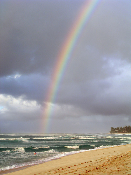 Rainbow over Sunset Beach North Shore of O'ahu, Hawai'i