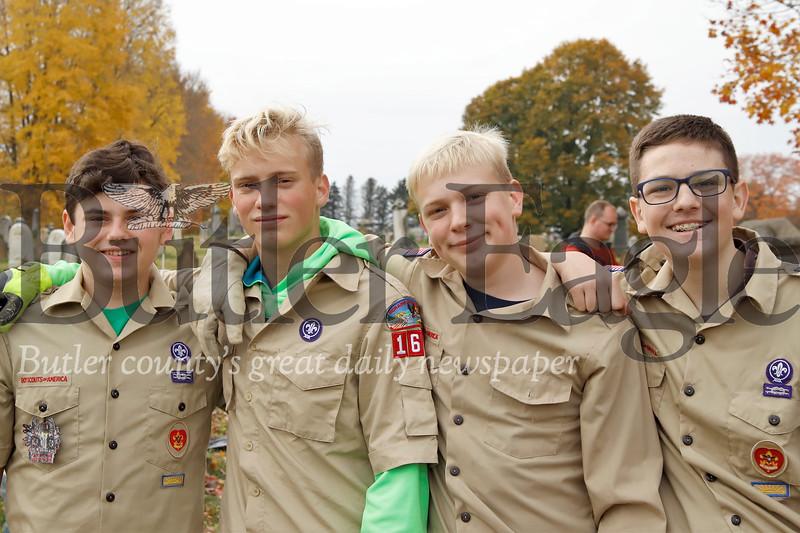 Left to right: Tyler Rasmussen, 13; Gator Martineau, 15; Jessie James Martineau, 14; Greyson Jones, 14. Seb Foltz/Butler Eagle