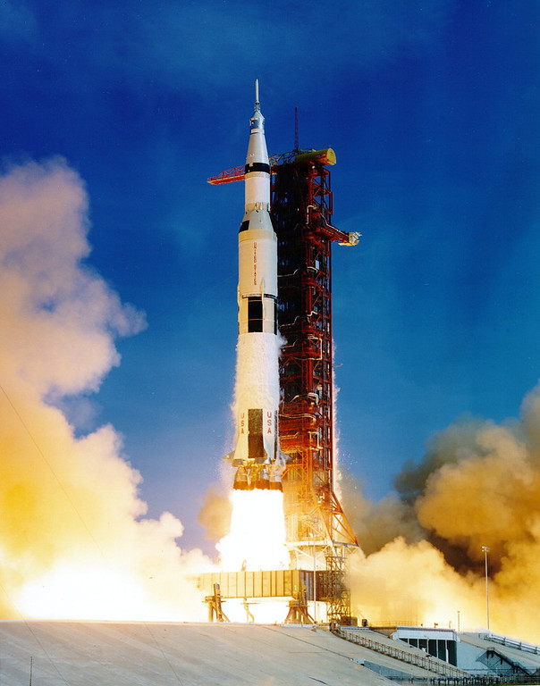 . Launch of Apollo 11, July 16, 1969. Courtesy of the National Aeronautics and Space Administration, specifically the NASA History Office and Kennedy Space Center.