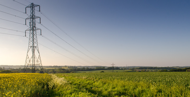 Electricity line crossing fields in Hampshire