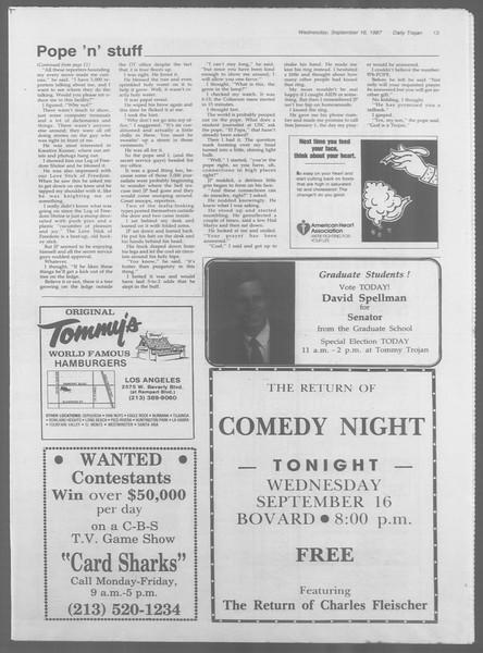 Daily Trojan, Vol. 105, No. 10, September 16, 1987