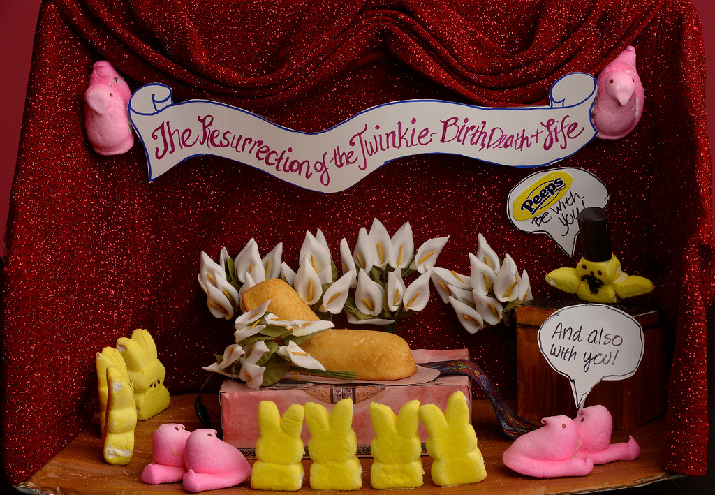 . 2nd place adult winner: Detail of Peeps 2nd place adult winner  by Julie Armstrong of Colorado Springs  on Wednesday, April 9, 2014.  (Denver Post Photo by Cyrus McCrimmon)