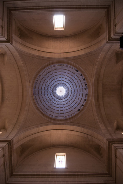 Looking up the ceiling of Concatedral de San Nicolas in Alicante, Spain