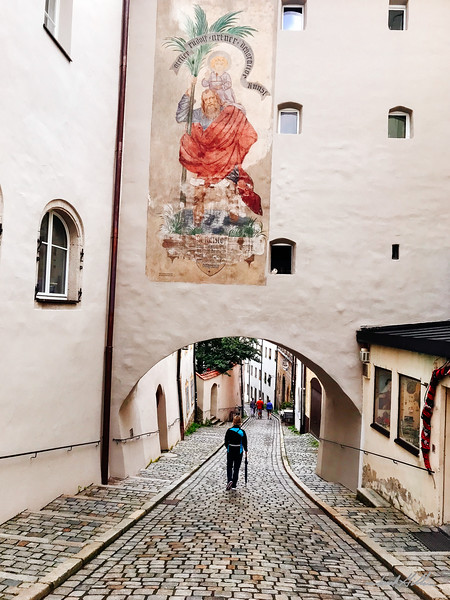 Strolling down a cobblestone street