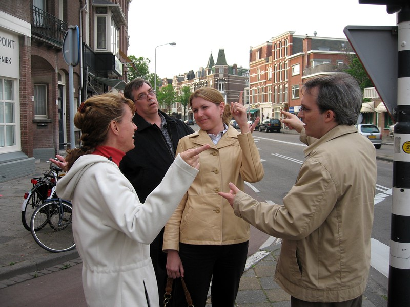 Erin (l), Allen, Abbie, and Paul, in a typical moment of groupthink in The Hague