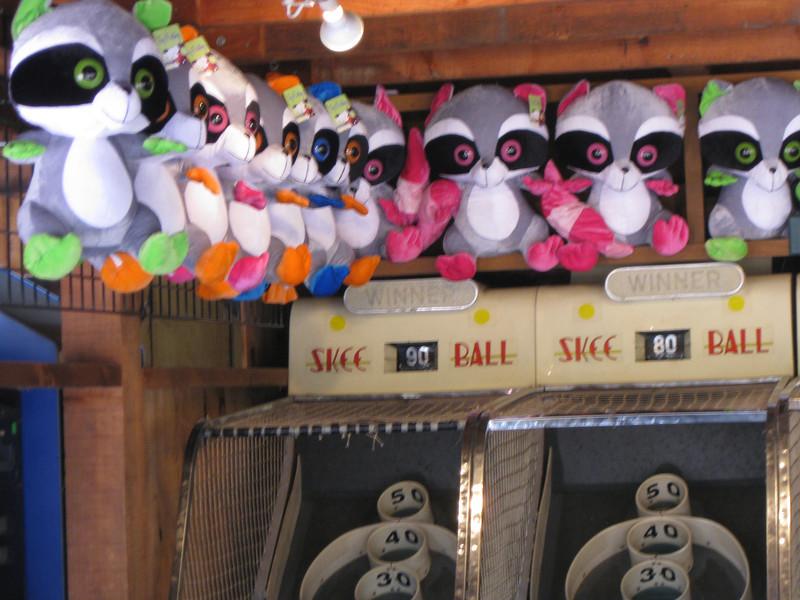 Skee Ball prizes.