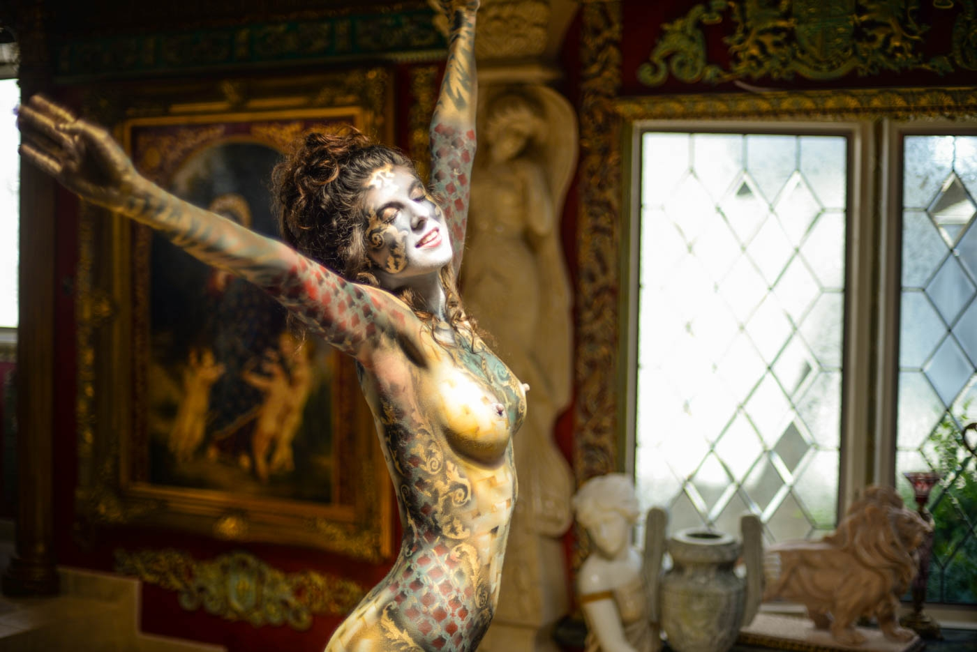 Roustan body paintings on Shadia Elise at the home of Dominic LaFerla