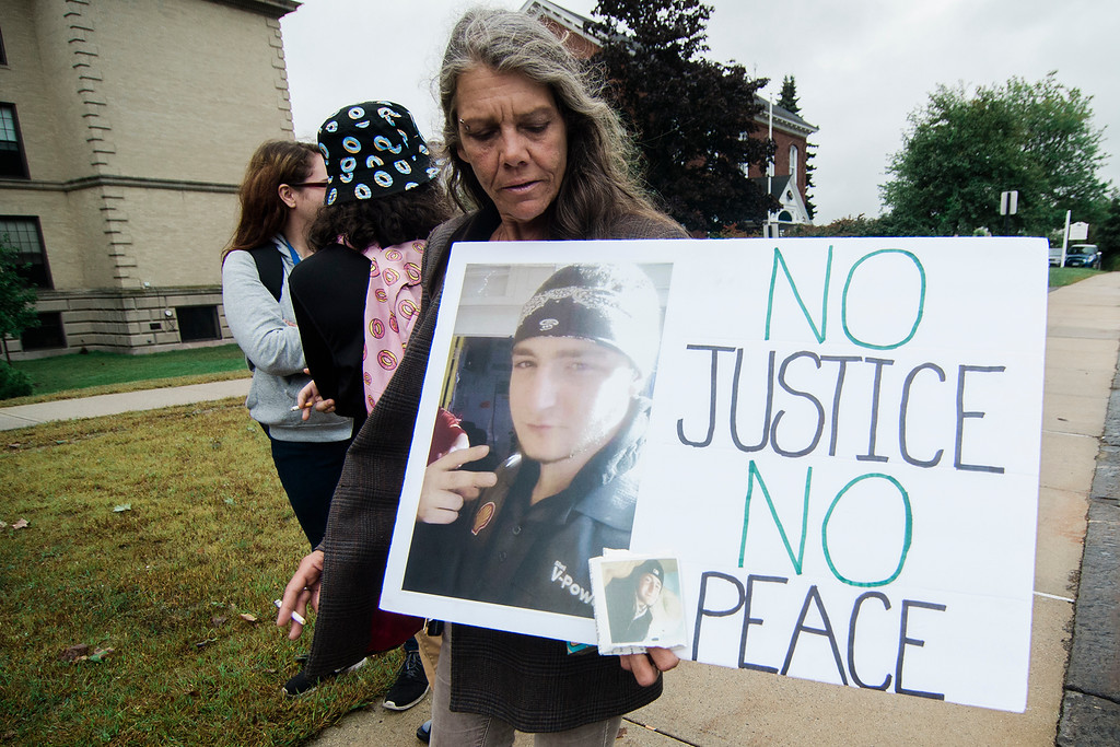 . Tracy Marrama joined friends and family members of Frankie Fortuna outside the Leominster District Court on Wednesday, September 20, 2017 ahead of the arraignment of 22-year-old Conner Hartman. Hartman pleaded guilty to leaving the scene of a personal-injury accident in connection to Fortuna\'s death. Hartman will serve 18 months probation, 100 hours of community service and will continue to have his license suspended through at least February. SENTINEL & ENTERPRISE / Ashley Green