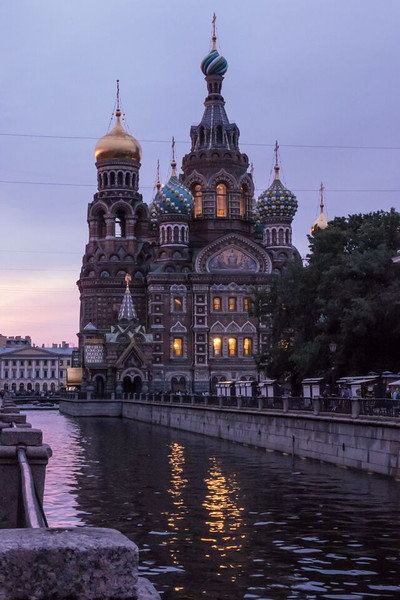 The onion domed spires of Church of the Savior on Spilled Blood is a beautiful St. Petersburg travel experience.