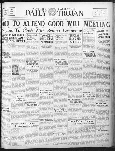 Daily Trojan, Vol. 23, No. 87, February 12, 1932