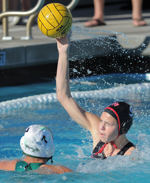 . 02-16-2012--(LANG Staff Photo by Sean Hiller)- Palos Verdes girls water polo defeated Upland 10-8 in Saturday\'s CIF Southern Section Division III quarterfinal at Palos Verdes High School. Kirsten Gargas looks to shoot over Amanda Jarvis.