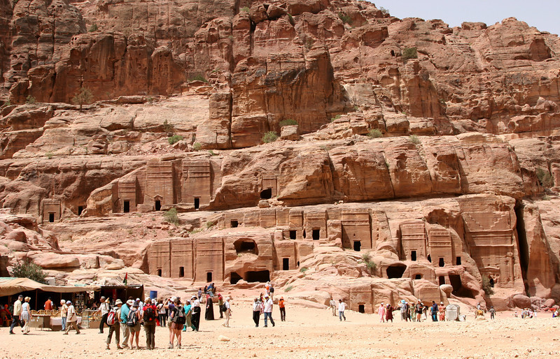 Petra - 'Street of Facades' - Tombs and houses built by the Nabataeans in a 'crow-step' style reminiscent of the Assyrians.  These facades are down the valley from The Treasury  just before the Theatre.