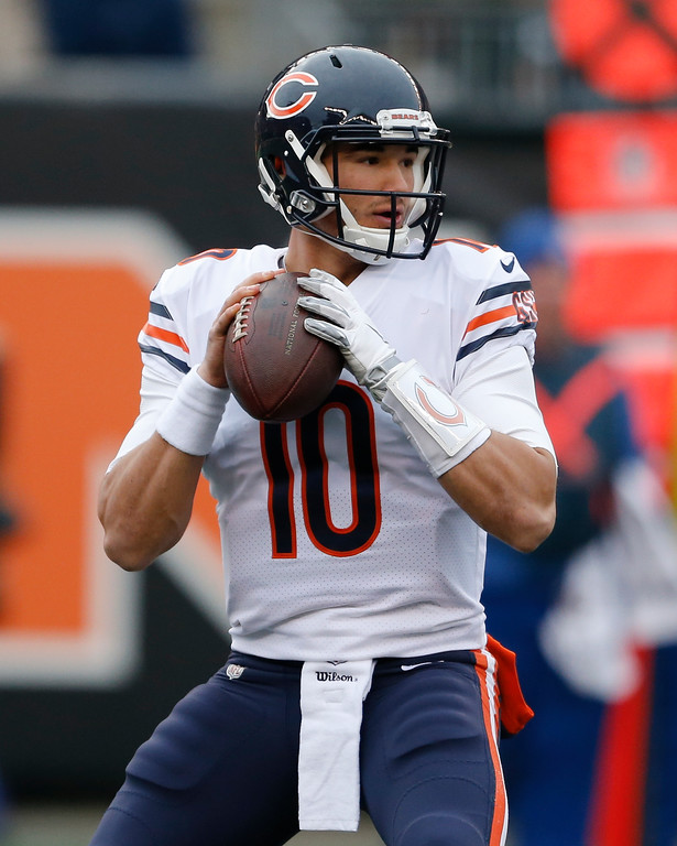 . Chicago Bears quarterback Mitchell Trubisky looks to pass in the first half of an NFL football game against the Cincinnati Bengals, Sunday, Dec. 10, 2017, in Cincinnati. (AP Photo/Gary Landers)