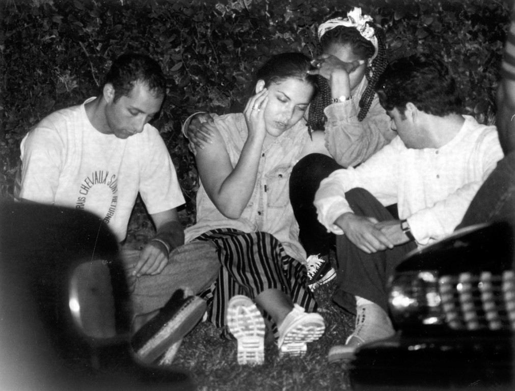 . Family members of O.J. Simpson wait near his home while he was arrested.    (1994)   (Los Angeles Daily News file photo)