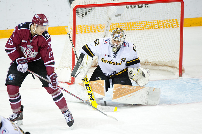 Goalie of Severstal Cherepovets Roman Smiryagin (62) saves the goal in the KHL regular championship game between Dinamo Riga and Severstal Cherepovets, played on January 3, 2017 in Arena Riga
