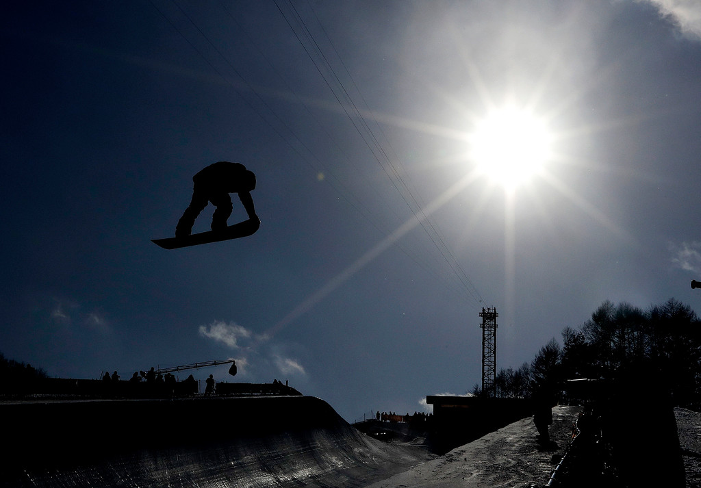 . Peetu Piiroinen, of Finland, jumps during the men\'s halfpipe qualifying at Phoenix Snow Park at the 2018 Winter Olympics in Pyeongchang, South Korea, Tuesday, Feb. 13, 2018. (AP Photo/Lee Jin-man)