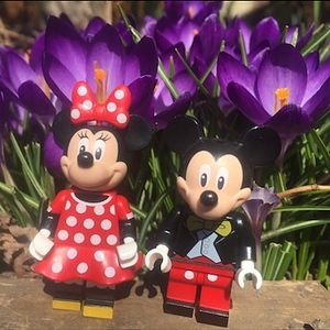Mickey and Minnie outside with the crocuses on a GORGEOUS spring day in Chicago.
