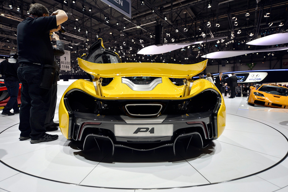 . The new McLaren P1 is shown during the press day at the 83rd Geneva International Motor Show in Geneva, Switzerland, Tuesday, March 5, 2013. The Motor Show will open its gates to the public from 7th to 17th March presenting more than 260 exhibitors and more than 130 world and European premieres. (AP Photo/Keystone, Martial Trezzini)