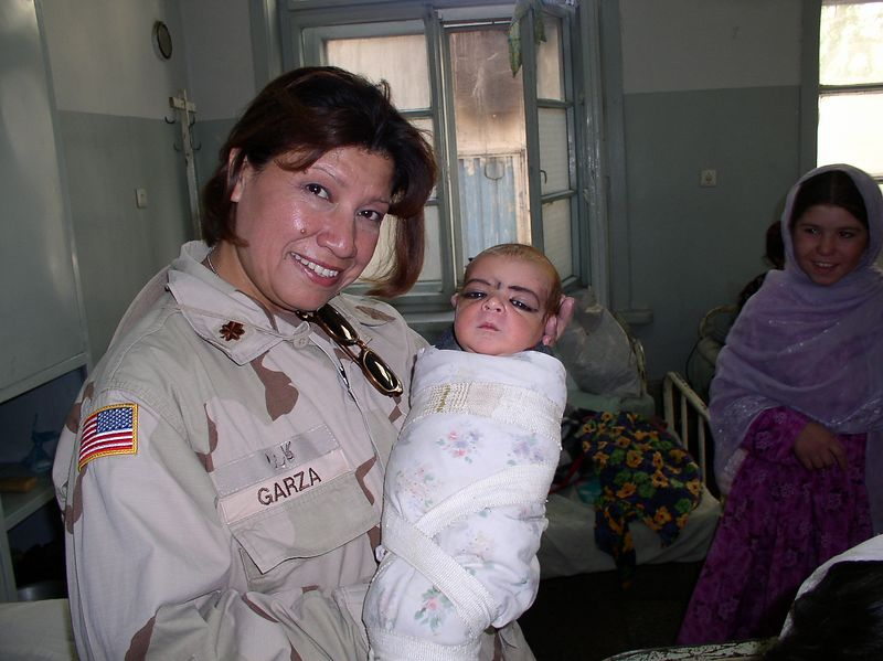 """Major Jane Garza, also RN from San Antonio, Texas serving in Kabul until 2/04. Jane (""""Chica"""") is terrific - spent many hours at RBH - half of those scrubbing !!"""