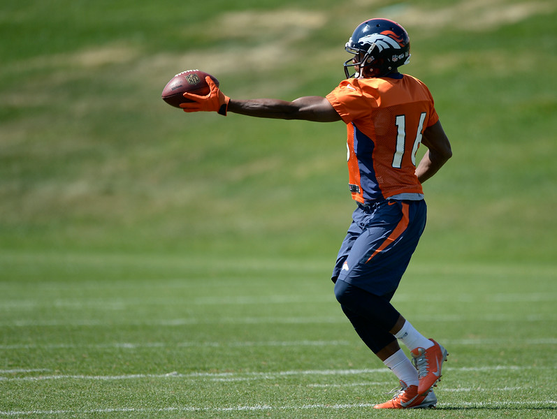 . Denver Broncos wide receiver Bennie Fowler (16) catches a pass during practice August 25, 2014 at Dove Valley.(Photo by John Leyba/The Denver Post)