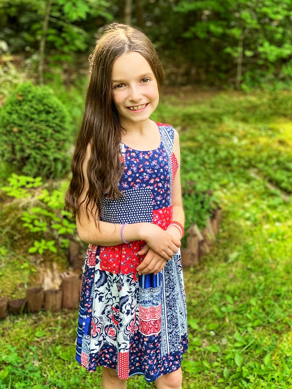 Tween Diva Red/Navy Color Patch Floral Dress