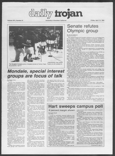 Daily Trojan, Vol. 95, No. 61, April 13, 1984
