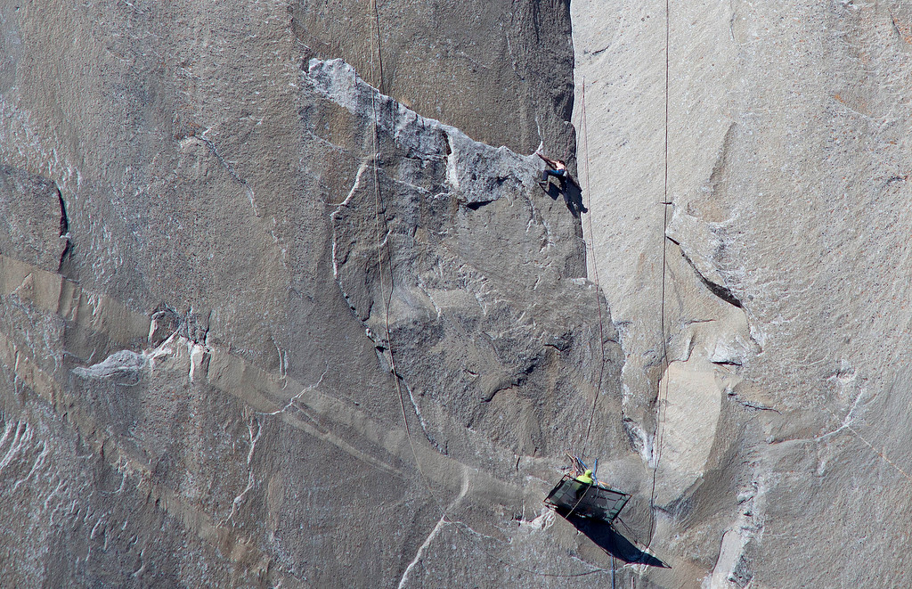 . In this Jan. 12, 2015 photo provided by Tom Evans, Tommy Caldwell, bottom, watches as Kevin Jorgeson climbs what has been called the hardest rock climb in the world: a free climb of El Capitan, the largest monolith of granite in the world, a half-mile section of exposed granite in California\'s Yosemite National Park. El Capitan rises more than 3,000 feet above the Yosemite Valley floor. The first climber reached its summit in 1958, and there are roughly 100 routes up to the top. (AP Photo/Tom Evans, elcapreport)