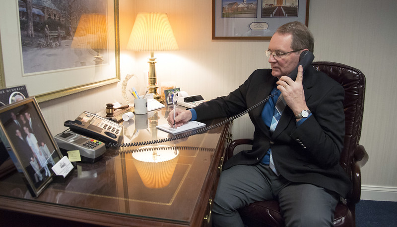 03/19/20   Wesley Bunnell | Staff  Peter Hansen from Erickson-Hansen Funeral Home located at 411 S. Main St in New Britain speaks with a client on the phone Thursday March 19, 2020.