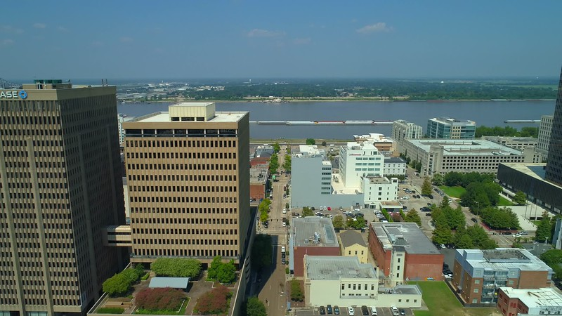 Aerial droen pull away shot Baton Rouge Downtown district 4k