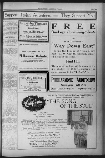 The Southern California Trojan, Vol. 12, No. 27, November 12, 1920