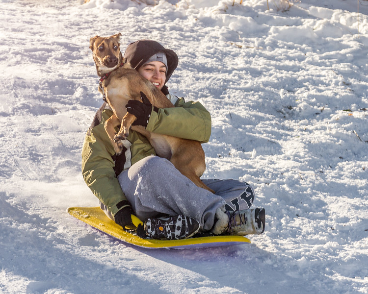 Mary & (frightened) Wooja sledding (LR)-.jpg