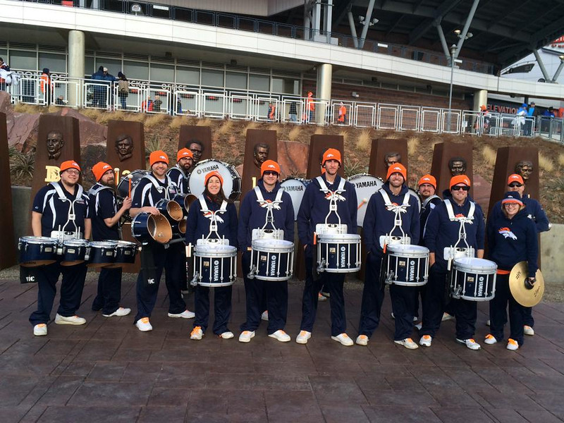 . Denver Broncos Stampede Drumline is the First Official Drumline of the NFL, established in 2003. They performed at Sports Authority Field at Mile High on Jan. 12, 2013.