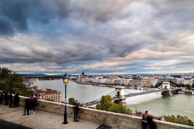 From the Buda side of the Danube across the key bridge with parliament in the distance.