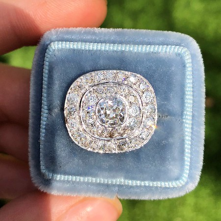 2.75ctw Art Deco Diamond Brooch Conversion