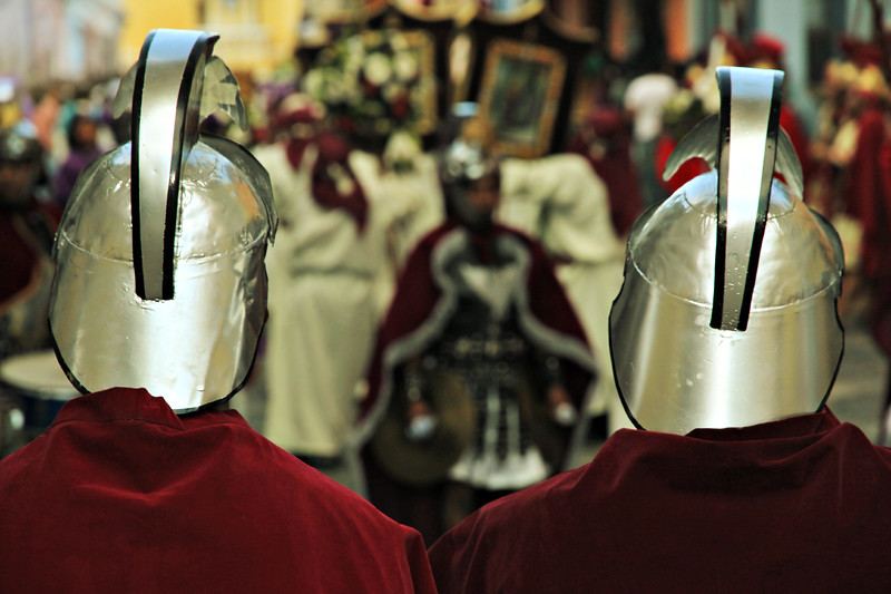 Roman soldiers march the streets of Antigua, Guatemala on February 17, 2013 during Lent. Photo by Scott Umstattd