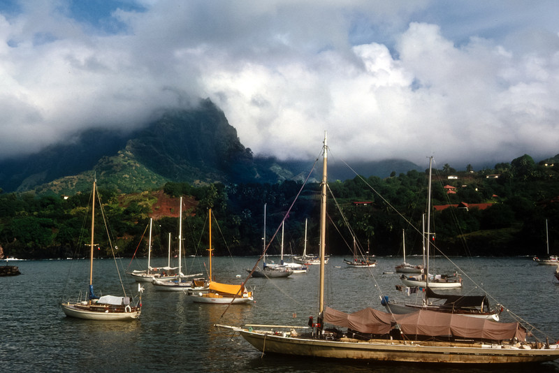 Hiva Oa harbor.  The demasted schooner was a story from hell. The pick-up, unskilled crew mutinied against the Colombian owner.  His dream to sail around the world ended when the rigging failed and the main mast fell.  