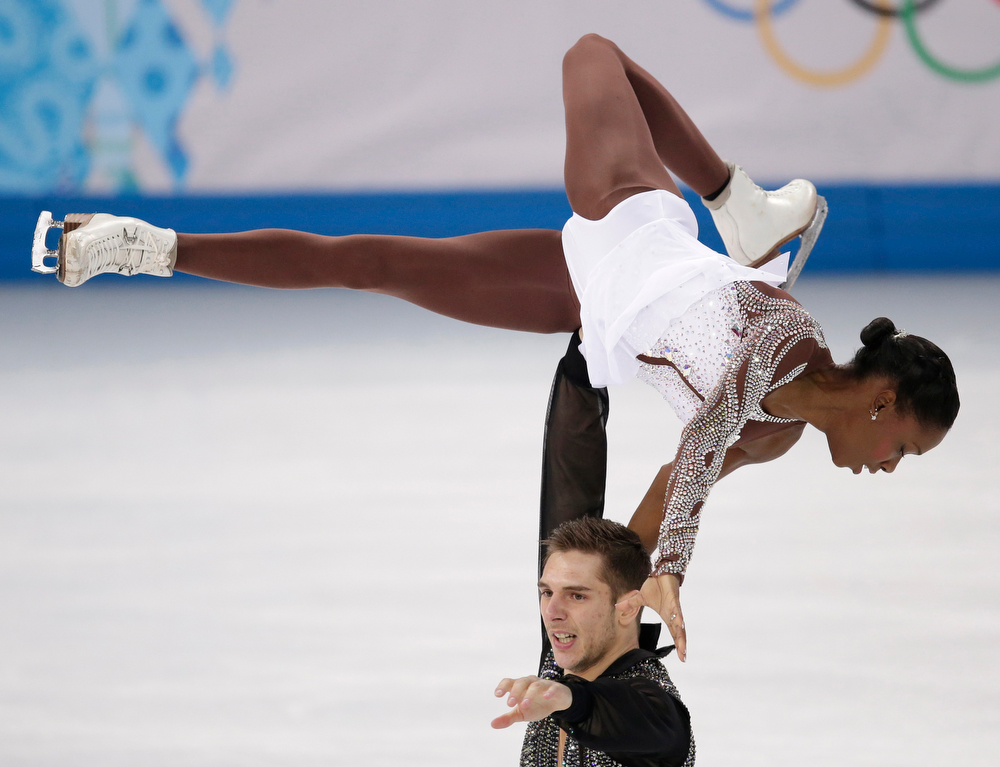 . Vanessa James and Morgan Cipres of France compete in the pairs free skate figure skating competition at the 2014 Winter Olympics, Wednesday, Feb. 12, 2014, in Sochi, Russia. (AP Photo/Bernat Armangue)