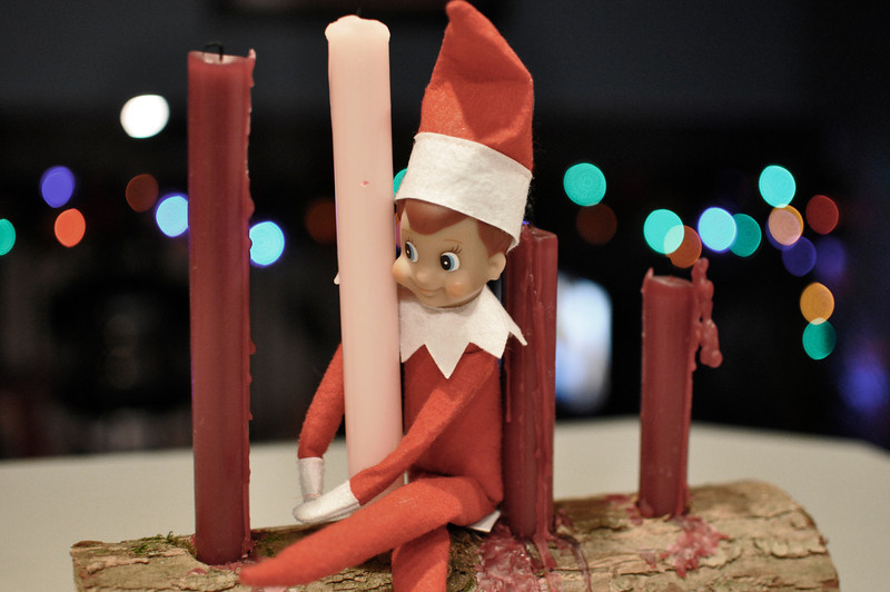 Feeling a bit religious, Ellken decides to hang out on the Advent candle for his 19th day in our home