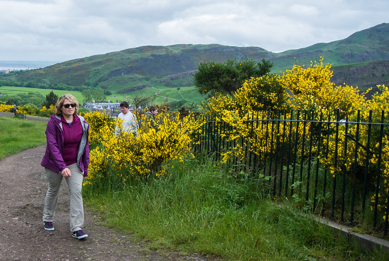 Walking up Calton Hill on east side of city.