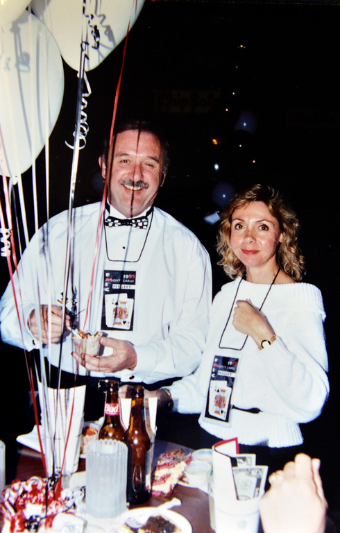 . Volunteers Gary and Phyllis Halliday in this 1995 photo at a event for the Grand Prix Foundation, the charitable arm that hosts two major fundraising events in conjunction with the Toyota Grand Prix of Long Beach in Long Beach, CA. Monday February 17, 2014. (Courtesy Photo by the Halliday\'s )
