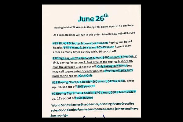 6-26-2016 John Kirbow 'Team Roping