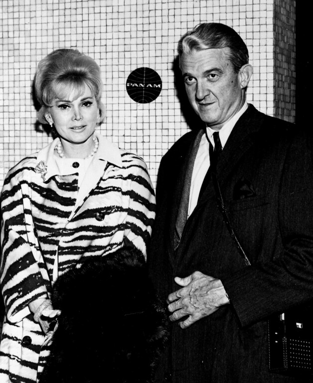 . Zsa Zsa Gabor arrives with her husband Joshua Cosden at Los Angeles International Airport  on April 3, 1966 from Europe.    (AP Photo)