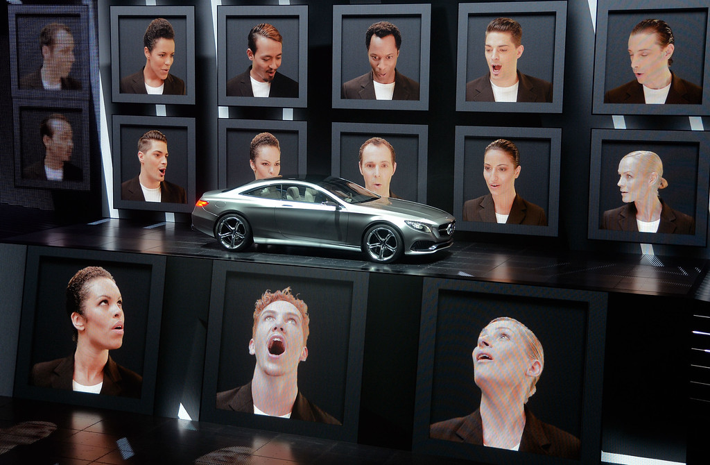 . The new Mercedes S-Class Coupe concept car is presented by an multimedia show at the IAA international automobile show on September 10, 2013 in Frankfurt, Germany. The world\'s largest motor show, the IAA, is held biennially and will run from September 12 to 22, 2013.  More than 1.000 exhibitors from 35 countries will present their products during the show.  (Photo by Thomas Lohnes/Getty Images)