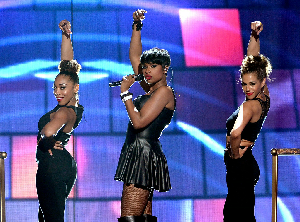 . Singer/actress Jennifer Hudson (C) performs onstage during the BET AWARDS \'14 at Nokia Theatre L.A. LIVE on June 29, 2014 in Los Angeles, California.  (Photo by Kevin Winter/Getty Images for BET)