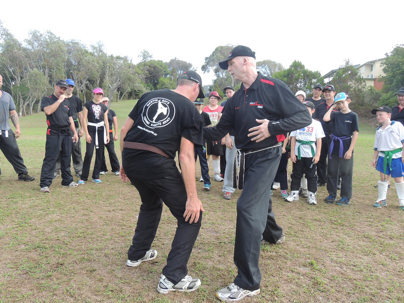 Russell Brown & Master Martin day Combat Karate Noosa. One Day self defence & combat karate training for all on the Sunshine Coast, Australia. Kyusho pressure points training.