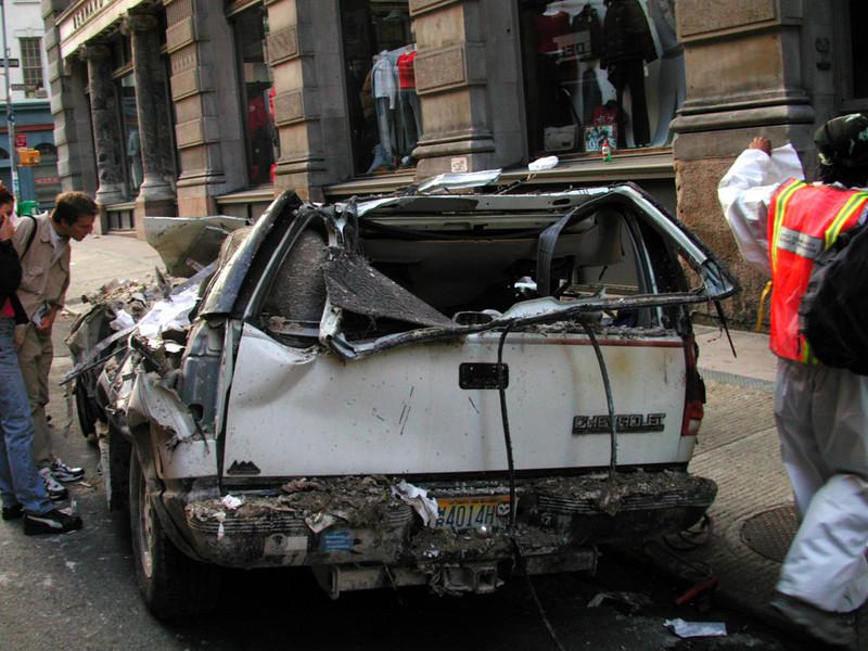 Crushed vehicles everywhere.