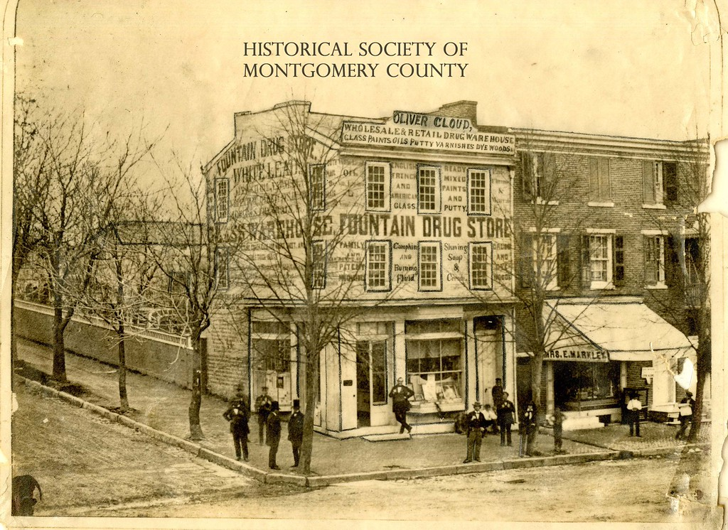 . This photo from the Historical Society of Montgomery County shows the Fountain Drug Store in 1912. It was located on the northeast corner of Main and DeKalb streets.