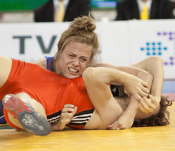 67 kg/ 147.5 lbs. – Katie Downing (Colorado Springs, Colo./Sunkist Kids), 3rd place by fall over Manuela Barzu of Romania, 1:03 by fall over Stauvoula Zygouri (Greece), 1:39 lost to Martine Dugrenier (Canada), 1-0, 1-0 def. Eri Sakamoto (Japan), 0-2, 1-